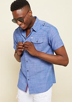 Royal Blue Cross Hatch Chambray Shirt