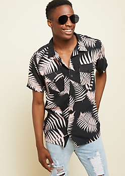 Black Tropical Print Pocket Button Down Shirt