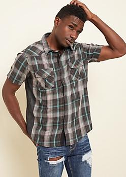 Black Plaid Denim Side Button Down Shirt