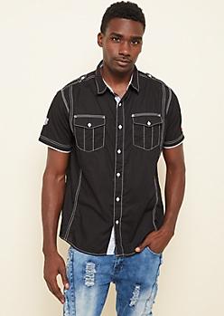 Black Contrast Stitch Button Down Shirt