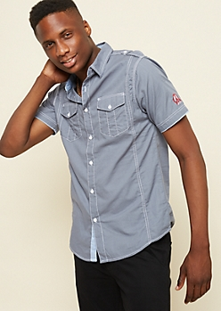 Gray Patch Stitched Poplin Shirt