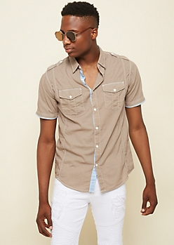 Light Brown Patch Stitched Poplin Shirt