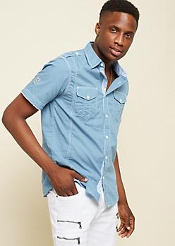 Light Blue Patch Stitched Poplin Shirt