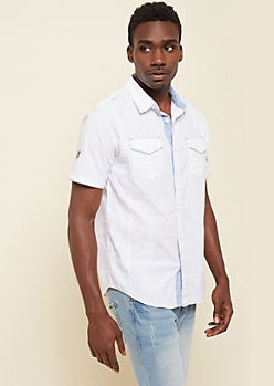 White Contrast Stitch Button Down Shirt