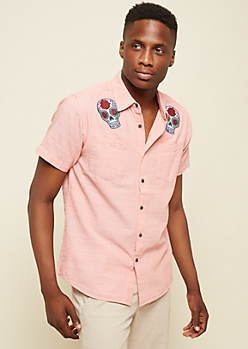Red Skull Patch Cross Hatch Chambray Shirt