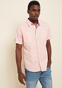 Peach Paint Splattered Stripe Button Down Shirt