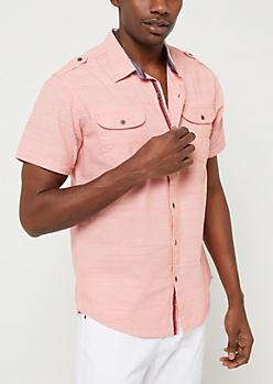Salmon Button Down Pocket Shirt