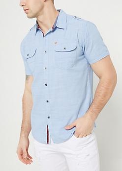 Light Blue Button Down Pocket Shirt