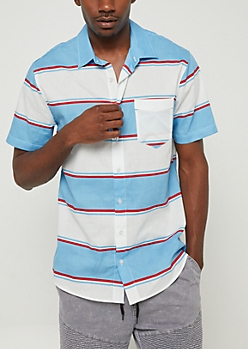 Blue Striped Short Sleeve Button Down Shirt
