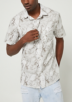 Gray Washed Short Sleeve Button Down Shirt