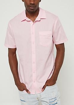 Light Pink Short Sleeve Button Down Shirt