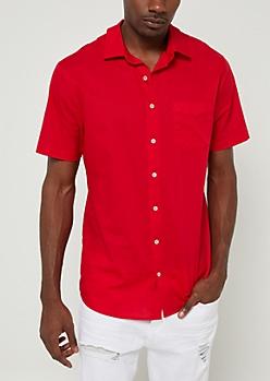 Red Short Sleeve Button Down Shirt