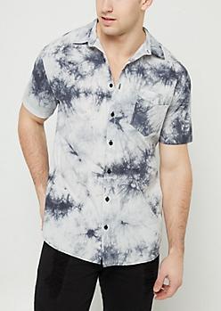 Black Tie Dye Button Down Shirt