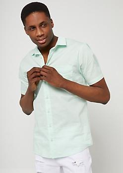 Mint Button Down Pocket Shirt