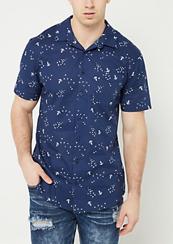 Navy Anchor Bird Print Button Down Shirt