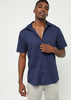 Navy Short Sleeve Button-Down Top