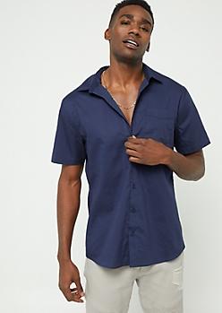 Navy Short Sleeve Button Down Shirt