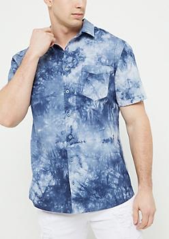Light Blue Tie Dye Print Button Down Shirt