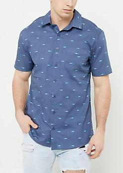 Blue Shark Print Button Down Shirt
