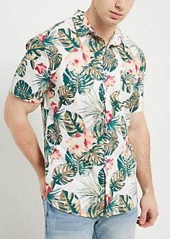 White Floral Palm Print Button Down Shirt