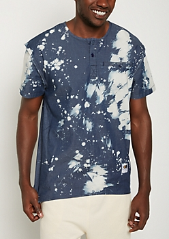 Dark Blue Bleached Chambray Shirt By Caliber