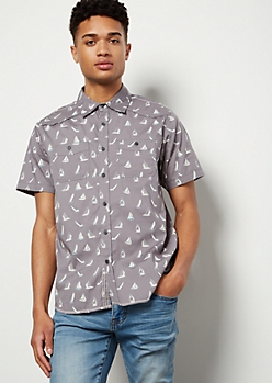Gray Sailboat Print Short Sleeve Button Down Shirt