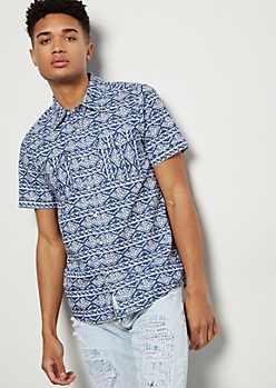 Navy Ikat Print Short Sleeve Button Down Shirt