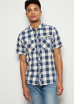 Blue Plaid Print Button Down Collared Shirt