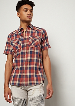 Red Plaid Print Button Down Shirt