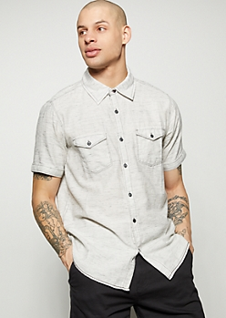 White Space Dye Button Down Shirt