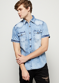 Light Wash Button Down Short Sleeve Chambray Shirt