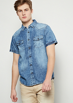 Dark Wash Button Down Short Sleeve Chambray Shirt