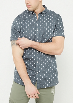 Charcoal Gray Diamond Print Button Down Shirt