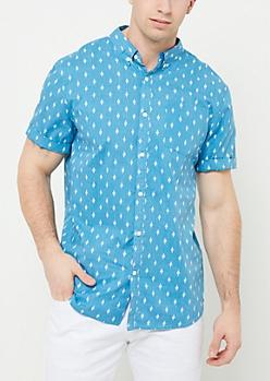 Light Blue Diamond Print Button Down Shirt