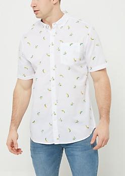 White Banana Print Button Down Shirt