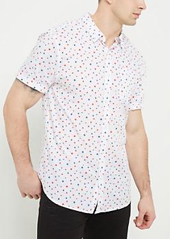 White Star Print Button Down Shirt