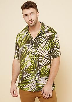 Pink Palm Print Short Sleeve Button Down Shirt