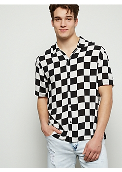 Checkered Print Button Down Shirt