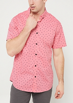 Pink Triangle Short Sleeve Button Down Top