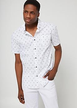 White Anchor Short Sleeve Button-Down Top