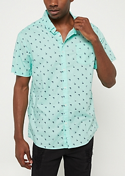 Mint Sailboat Short Sleeve Button Down Top