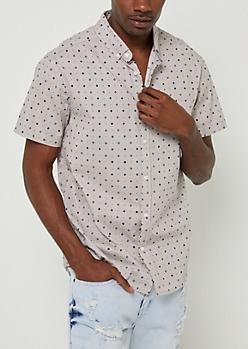 Gray Geo Dot Print Button Down Shirt