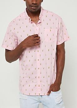 Pink Cactus Print Button Down Shirt