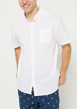 White Short Sleeve Button Down Shirt