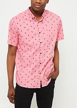Pink Toucan Print Button Down Shirt