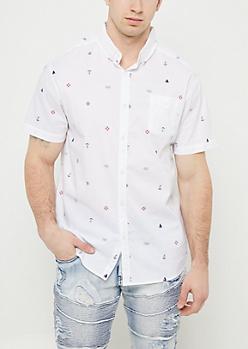 White Nautical Print Button Down Shirt