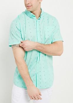 Mint Geo Print Button Down Shirt