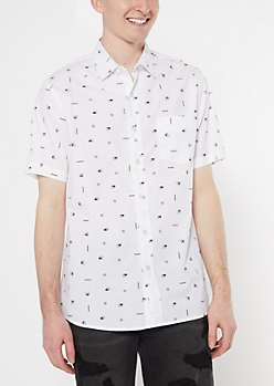 White Small Geometric Print Shirt