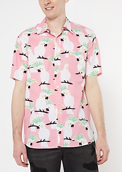 Pink Cockatoo Bird Print Shirt