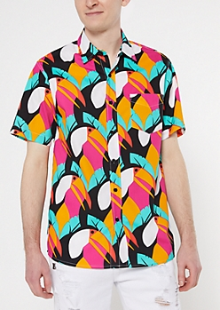 Black Toucan Bird Print Shirt